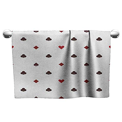 Floral Hand Towels Casino,Gambling Club Lifestyle Fortune Luck Advertise Minimalistic Design Artwork, Red Ruby Maroon,Towel Robes for Women