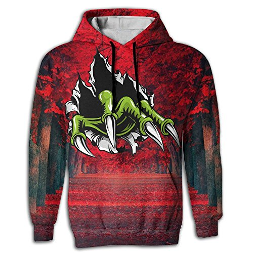 MUNEAKUSE 3d Zombies Green Claws Red Trees Premium Long Sleeve Sports Sweatshirts Hood With Pockets For Adult. (Wine Delivery Montreal)