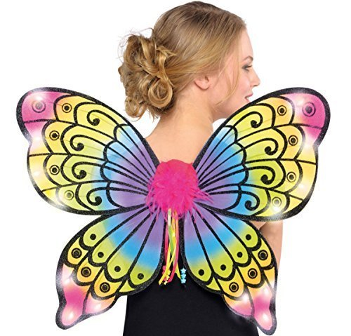 [Neon Bright Electric Party Light-Up Butterfly Wings Costume, Nylon, 17