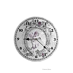 American Chateau 13 Large Wood Victorian Angel Cherub Distressed Wall Clock with Quartz Movement
