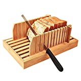 Bamboo Manual Adjustable Foldable Bread Machine Bread Slicer For Homemade Bread With Crumb Catcher Tray AND Eliminating The Generation Of Wood Chips By ISINO