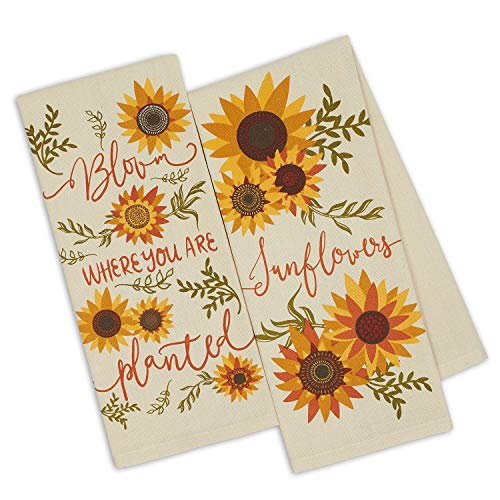 Design Imports DII Set 2 Sunny Sunflower Printed Kitchen Dish Towels - Bloom Where You are Planted - Sunflowers (Towel Country Dish)