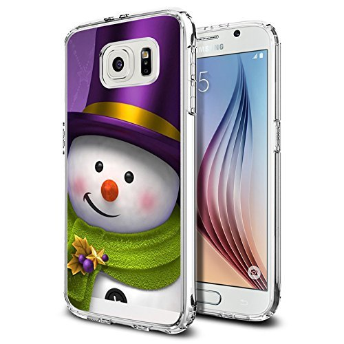 S6 Case Christmas Design Holiday snowman Christmas, LAACO Scratch Resistant TPU Gel Rubber Soft Skin Silicone Protective Case Cover for Samsung Galaxy S6