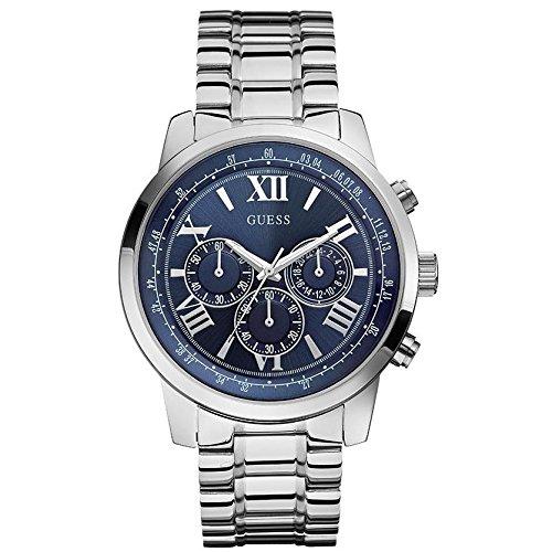 Guess HORIZON W0379G3 45mm Silver Steel Bracelet & Case Mineral Men's Watch