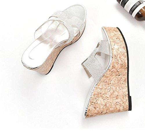 Hautes Tongs Femmes Plate Pantoufles Compensées forme Dames Argent Sandales Talons Argent épaisses Or 80f0caqO
