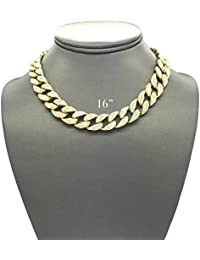Mens Iced Out Hip Hop Gold Tone CZ Miami Cuban Link Chain Choker Necklace