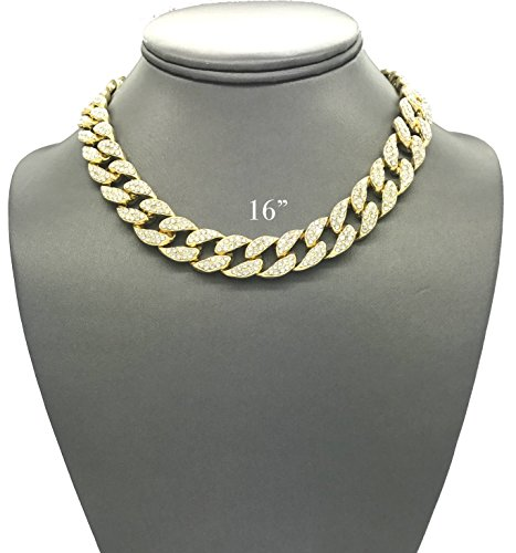 Pyramid Jewelers Mens Iced Out Hip Hop Gold Tone CZ Miami Cuban Link Chain Choker Necklace (16