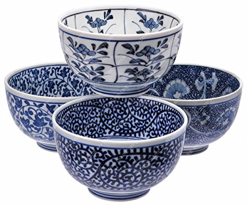 M.V. Trading MC1A029V X-Large Ceramic Ramen / Pho Soup Noodle Bowl with Assorted Design, 16-Ounces (2 Cups), 5 Inches (W) x 3 Inches (H), Set of 4