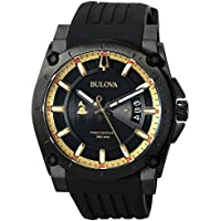 Bulova Men's 98B294 Grammy Stainless Steel Watch With Silicone Strap (Black)