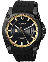Bulova Mens Grammy Quartz Stainless Steel and Silicone Casual Watch, Color:Black (Model: 98B294)