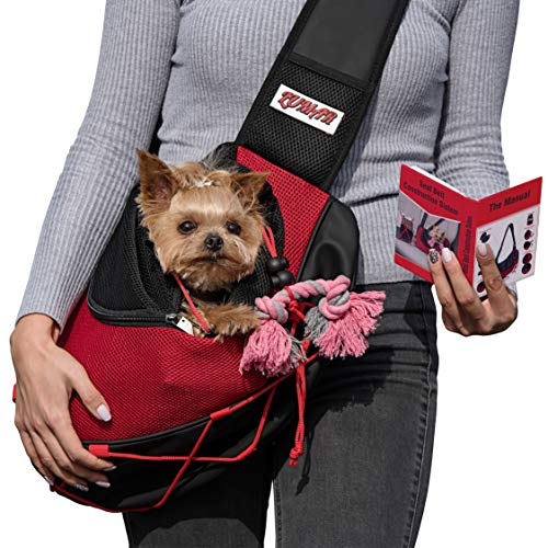 Lumar Pet Sling Carrier for Dogs and Cats Hands Free, Adjustable Size and Adaptable System for The Seatbelt Safety in The Car Toy Bonus for Traveling from 9lbs to 15lbs (Red1)