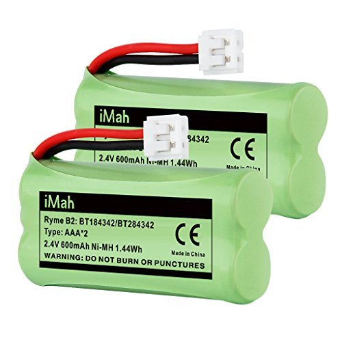 iMah BT184342/BT284342 BT18433/BT28433 Phone Battery Compatible with AT&T BT184342 BT18433 BT1011 BT1018 BT1022 BT1031 BT8300 CS6209 CS6219 CS6228 CS6229 Vtech DS6301 CL80109 CS6209 TL90078, Pack of 2 ()