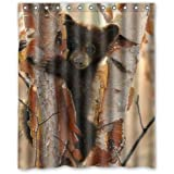 """D-Story Custom Unique Bath Curtain Black Bear Waterproof Polyester Fabric 60""""(w) x 72""""(h) Shower Curtain and Hooks"""