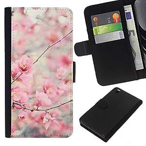 Planetar® Modelo colorido cuero carpeta tirón caso cubierta piel Holster Funda protección Para HTC DESIRE 816 ( Bloom Cherry Blossoms Tree Apple )