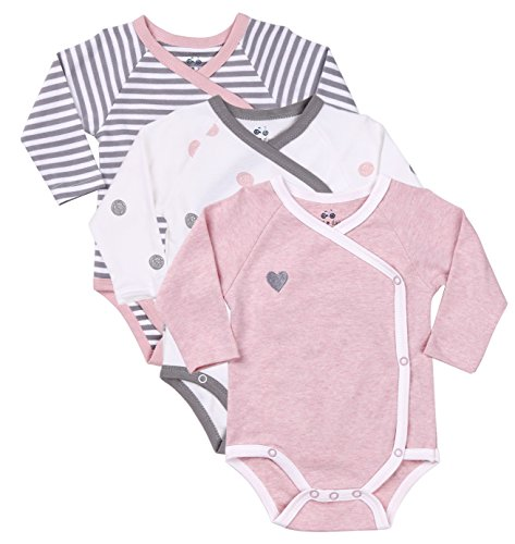 Asher and Olivia Baby Girl 3-Piece Long-Sleeve Kimono Onesie, Size Newborn 0-3 Month, Bundle Includes Pink Heart Bodysuit, White Polka Dot Onesie and Striped Infant Girl Outfits. (Onesie Striped Bodysuit)