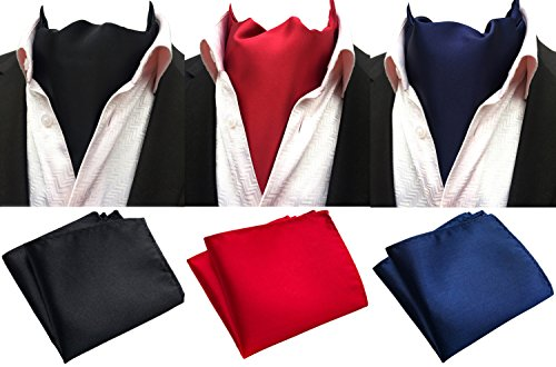 (MOHSLEE Mens Solid Color 3 Pack Cravat Party Ascot Scarf Tie & Pocket Square Set)