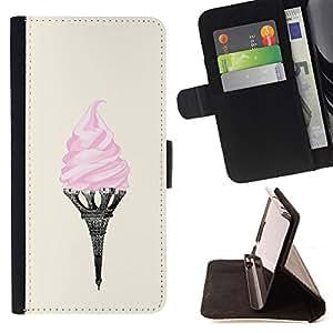 /Skull Market/ - ice cream Eifel tower Paris art pink France For Samsung Galaxy Note 3 III - Caja de la carpeta del tir??n del cuero de la PU [con ranuras para tarjetas y cierre de solapa magn? -