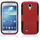 Galaxy S4 Case, MagicMobile® Dual Ultimate Protection Shockproof Impact Resistant Case for Samsung Galaxy S4 Hybrid [Red] Soft Flexible Silicone [Black]Hard Mesh Plastic Armor Cover for Galaxy S4