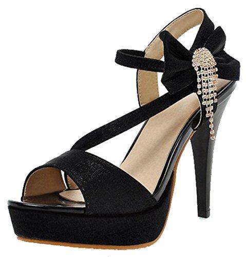 Black Sexy Women's Sandals Bows Strappy Stiletto High Rhinestones Aisun Platform Heel Peep Elastic Toe 5OwUqW