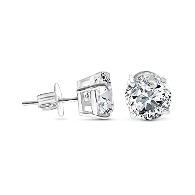 f59295a38 Amazon.com: Solid 14k White Gold Cubic Zirconia Stud Earrings (0.5 ...