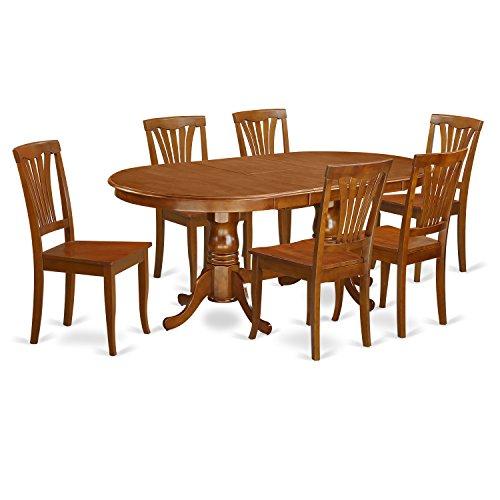 East West Furniture PLAV7-SBR-W 7-Piece Dining Table Set