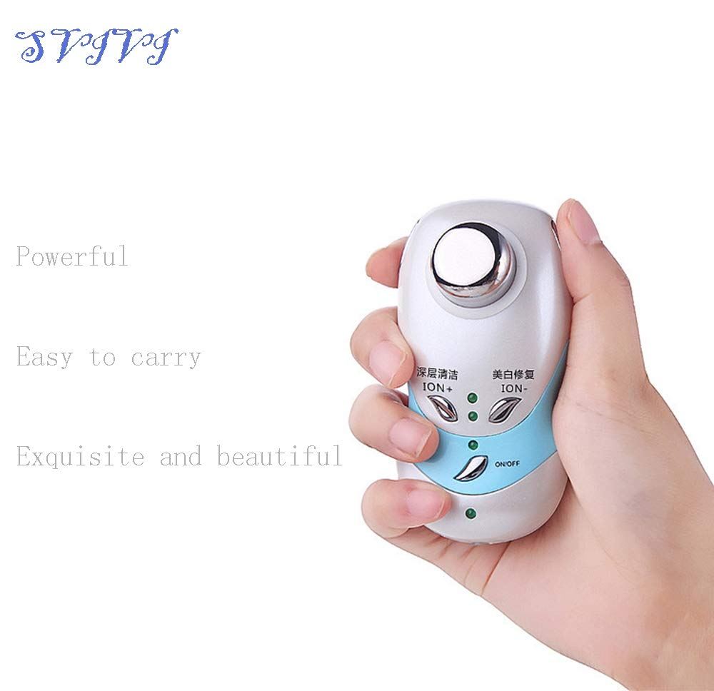 Handheld Facial Massager Cleansing Beauty Moisturizer Device Facial Skin Care Cleaner cold hot Face Facial Massager Tool,Blue by SVIVI (Image #5)