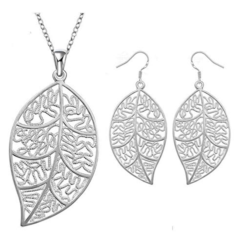 - Charming Silver Leaf Necklace Earrings Wedding Party Prom Jewelry Gift Set Necklace Jewelry Crafting Key Chain Bracelet Pendants Accessories Best