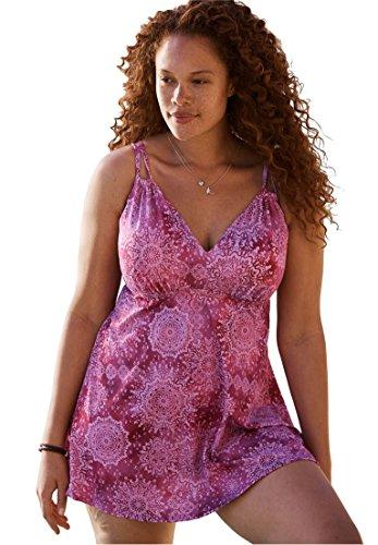 Woman Within Women's Plus Size 2-Piece, Loop Strap Swimdress Bright Fuchsia - Women Swimsuits For 2piece