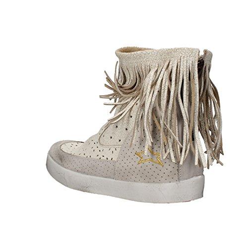 Cuero Mujer Gris Zapatos Blanco Ishikawa Blanco EU AM668 37 Gamuza Botines 011Tgdnq