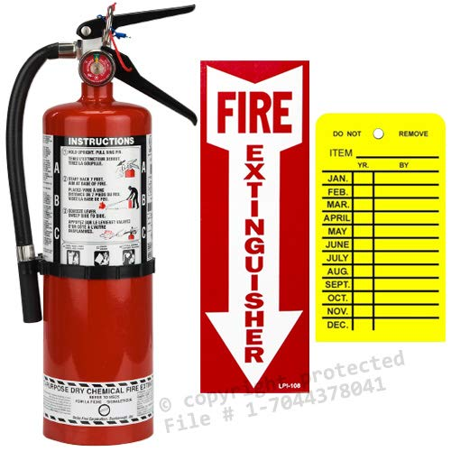 ((Lot of 1) 5 Lb. Strie First, Type ABC Dry Chemical Fire Extinguisher with Wall Hook, Sign and Inspection Tag)