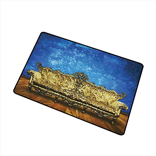 - Wang Hai Chuan Victorian Commercial Grade Entrance mat Victorian Sofa in Room Interior Wooden Floor Timber Panel Curve Aged for entrances garages patios W31.5 x L47.2 Inch Brown Gold Royal Blue