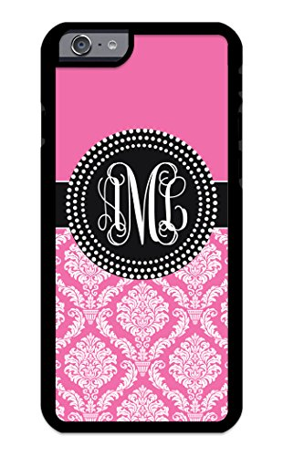 Custom Phone Case iPhone 7 Plus, iPhone 8 Plus Case iZERCASE Monogram Personalized Damask Colorful Multi-Colored Pattern for Apple iPhone 7 Plus, iPhone 8 Plus (Pink)