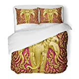 SanChic Duvet Cover Set Thai Elephant Carved Gold Paint on Church Door Thailand Buddha Monk Decorative Bedding Set 2 Pillow Shams King Size