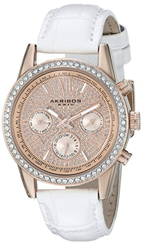 Akribos XXIV Womens AK871WTR Crystal Accented Two Time Zone Pave Dial Rose Tone and White Leather Strap Watch