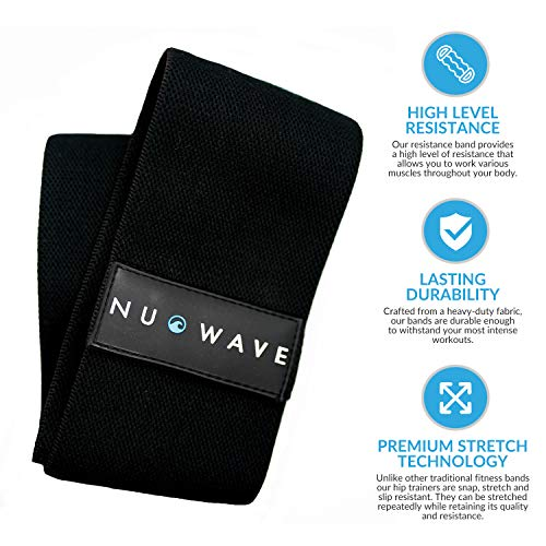 NuWave Hip Resistance Band - Premium Non-Slip Resistance Hip Band for Glutes and Hips Activation - Ideal Exercise Band for Squats Lunges and Dynamic Warm-Ups