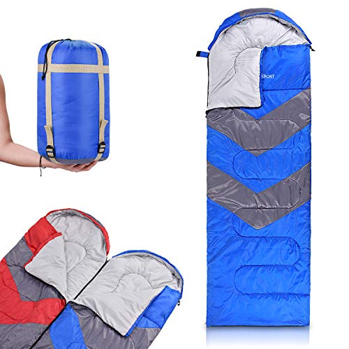 Abco Tech Sleeping Bag with Hood – Use as Single or Convert to Double Sleeping Bag with Both Varients – Lightweight, Waterproof, 20° F Rating – Great for 4 Season Traveling, Camping, Hiking, Ou