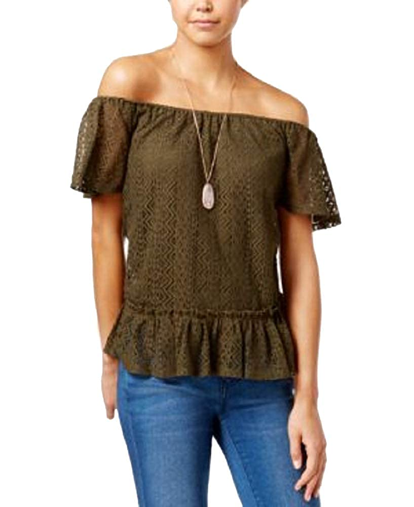 Belle du Jour Juniors Lace Off-The-Shoulder Top with Necklace
