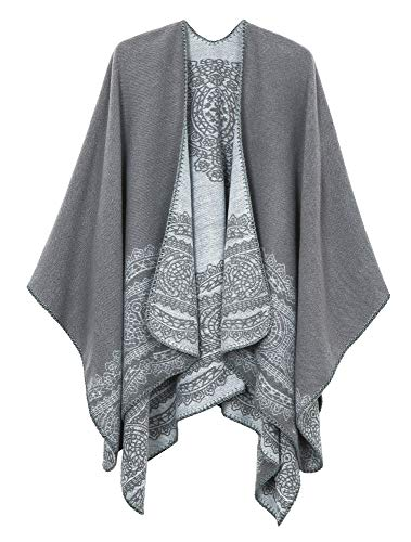 Women's Vintage Pattern Open Front Poncho Cape Shawl (Series 1-Grey) by Urban CoCo