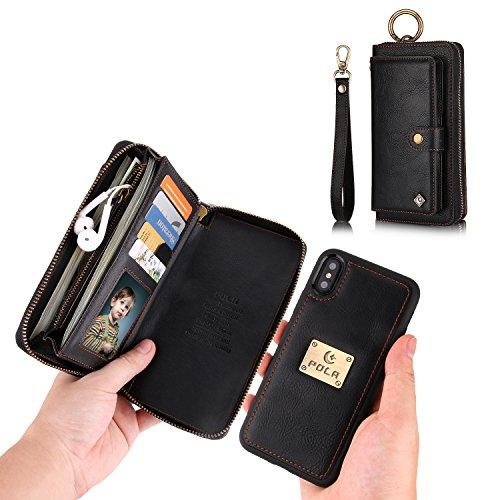 JAZ iPhone X Wallet Case,iPhone Xs Wallet Case Zipper Purse Detachable Magnetic 14 Card Slots Card Slots Money Pocket Clutch Leather Wallet Case for iPhone Xs/iPhone X 5.8 - Black