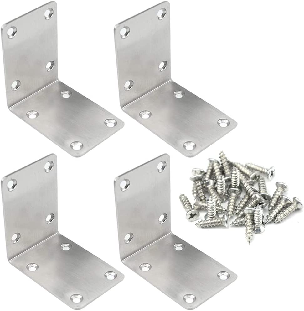 TOVOT 4 PCS 2.68 inch X 2.68 inch Stainless Steel Shelf Support Brace Corner Angle Brackets Angle Code w/Screws for Wooden Furniture