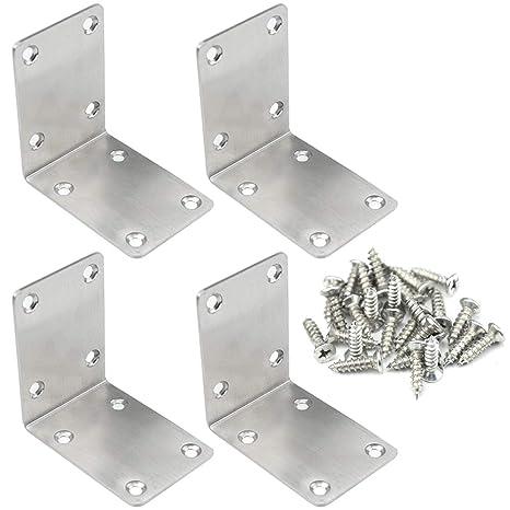 Amazon.com: TOVOT - 4 soportes de ángulo de esquina de acero ...