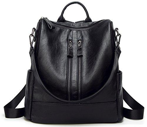 DCCN Women's Rucksack PU Leather Fashion Daypack - Black Type2