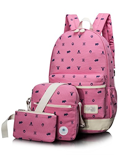 Leaper Casual Style Cute Deer Lightweight Canvas School Backpack Shoulder Bag Pencil Bag 3Pcs Set Rose  Note  We Have Updated The Tag  Two Tags Are Randomly Sent  We Appreciate Your Understanding