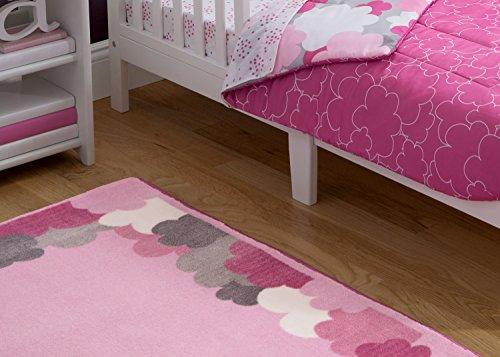 Delta Children Soft Kids Area Rug (2.5 foot x 4 foot) Girls Clouds. Pink, Hot Pink, Grey by Delta Children