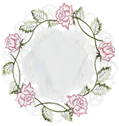 Rose Pink Crochet - Banberry Designs Embroidered Pink Rose Doily 16 Inch Diameter Round Doilie Machine Washable Po.
