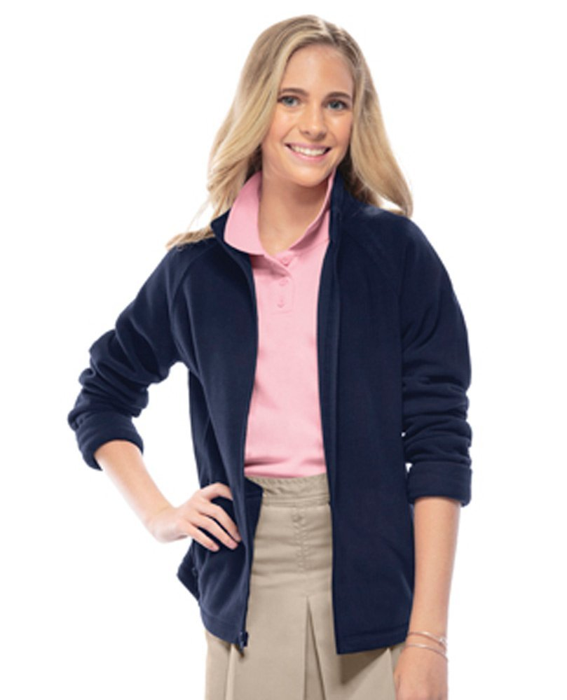 Classroom Little and Big Girls' Fitted Polar Fleece Jacket (Medium, Dark Navy) by Classroom Uniforms