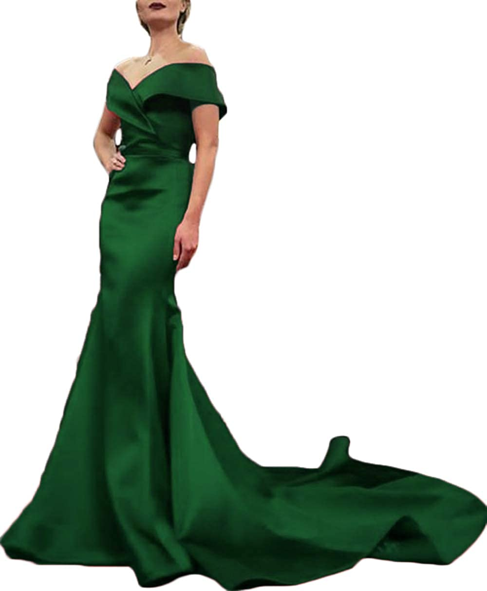 Emerald Green Rmaytiked Womens Off The Shoulder Mermaid Prom Dresses Long 2019 Elegant Satin Formal Evening Ball Gowns
