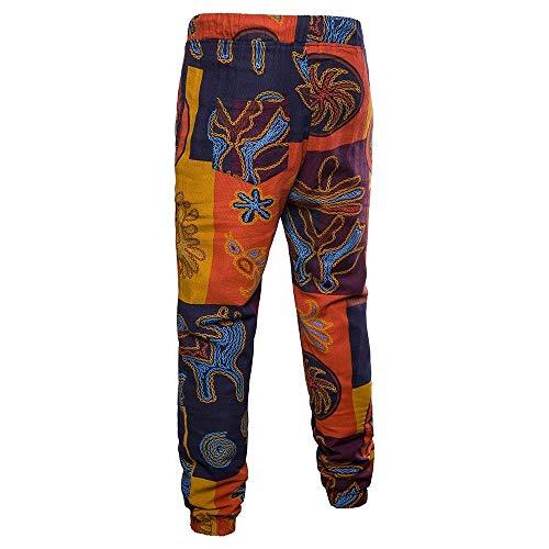 Poches Imprimé Pantalon Hommes Ample Long Floral Lin Avec Beach Latérales Orange En Été Boho Casual À rIOqwInp