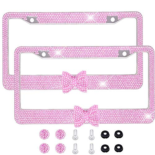 Pink Bling License Plate Frame, Rhinestones License Plate Holder for Car Stainless Steel 7 Row Diamond with HOT Bow Tie Bonus 2 Screws & 2 Caps Diamond Sparkly Cover- Pink - Cover Cap Metal Screw Hot