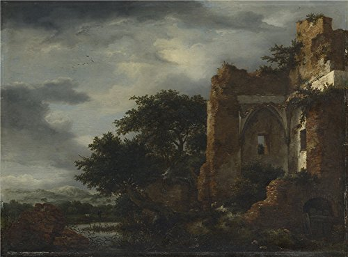 The Perfect Effect Canvas Of Oil Painting 'Jacob Van Ruisdael Ruins In A Dune Landscape ' ,size: 10 X 14 Inch / 25 X 34 Cm ,this Beautiful Art Decorative Canvas Prints Is Fit For Nursery Artwork And Home Decoration And (Sandy The Squirrel Costume)